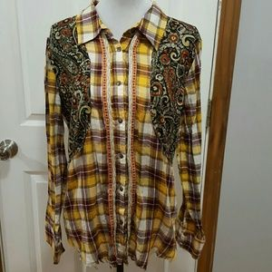 Gimmicks By BKE 100% Cotton Plaid Western Top XL